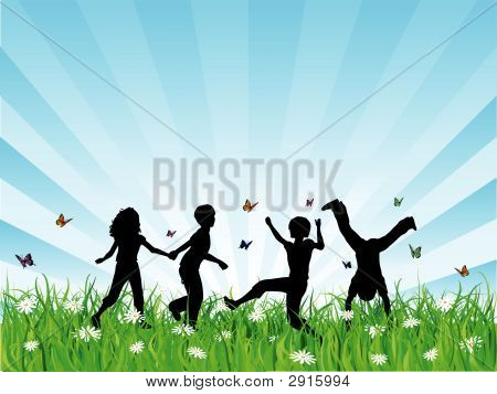 Children Playing In Grass