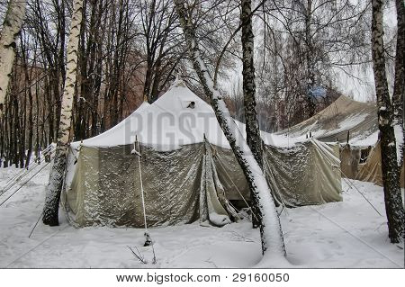 Soviet military tent in snow.Historical reenacting of WW2. Kiev,Ukraine