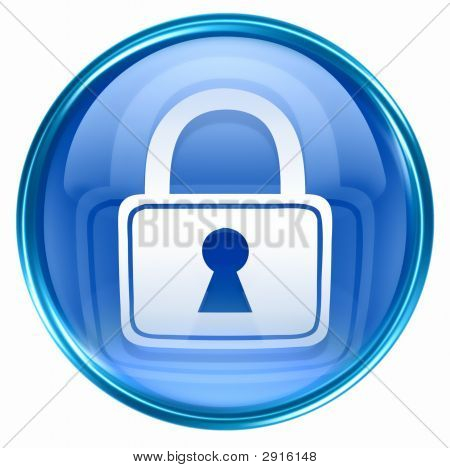 Lock Icon Blue, Isolated On White Background.