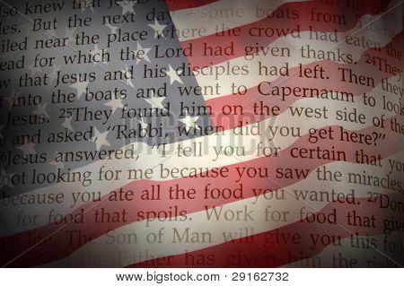 Holy Bible on USA Flag