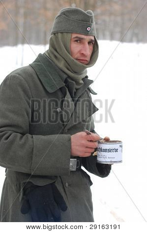 KIEV, UKRAINE - FEB 13: Member of a history club wears historical German uniforms during a WWII reenactment of 'Defense Kiev in 1943' on February 13, 2010 in Kiev, Ukraine
