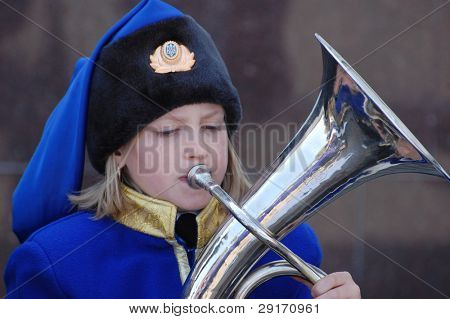 KIEV - MAY 7: Brass ensemble performs during meeting World War II, before V-day on May 7, 2010 in Kiev, Ukraine