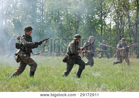 KIEV, UKRAINE - MAY 10 : members of Red Star history club wear historical German uniform during historical reenactment of 1945 WWII, May 10, 2010 in Kiev, Ukraine.