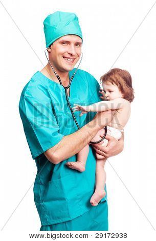 portrait of a surgeon with a stethoscope holding a  baby, isolated against white background