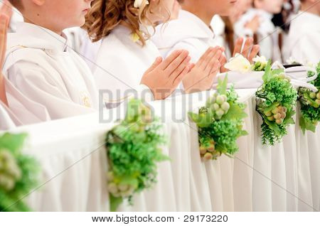 Children Accepting The First Holy Communion
