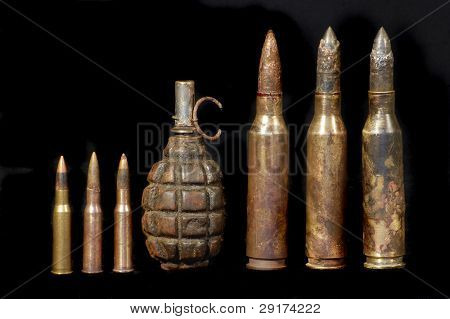 Soviet hand grenade of WW2,standart rifle cartridges (left) and cartridges anti-tank rifle
