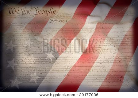 American Constitution with USA Flag  as background for Clip-Art