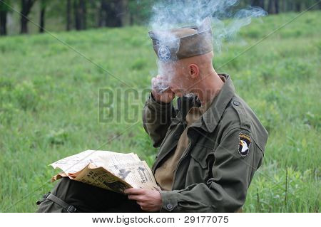 KIEV, UKRAINE - MAY 8 : Member of Red Star history club wears historical American uniforms during participation in 1945 WWII reenactment May 8, 2010 in Kiev, Ukraine.