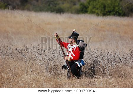 CRIMEA, UKRAINE - SEPTEMBER 26: Member of history club ALMA wears British historical uniform during historical reenactment of Crimean War near Alma river September 26, 2009 in Crimea, Ukraine