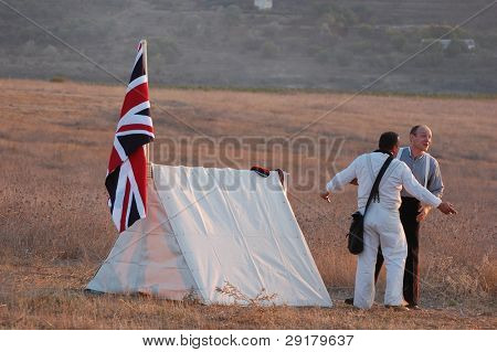 CRIMEA, UKRAINE - SEPTEMBER 26 : Members of military history club wear Beitish historical uniform during historical reenactment Crimean War near Alma river September 26, 2009 in Crimea, Ukraine