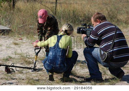 KIEV, UKRAINE - SEP 11: Ukrainian journalists work on the First Ukrainian Competition of Treasure Hunting, September 11, 2010 in Kiev, Ukraine