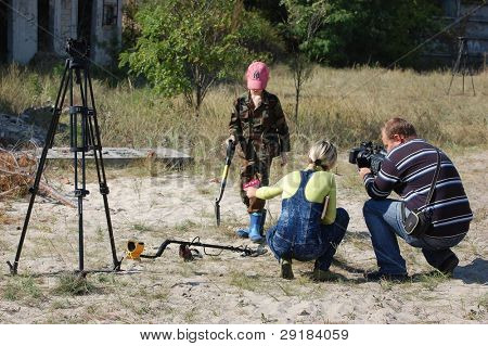 KIEV, UKRAINE - SEP 11: Ukrainian journalists work on the First Ukrainian Competition of Treasure Hunting, September 11, 2010 in Kiev, Ukraine