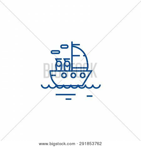 Yacht Sailing Line Icon Concept