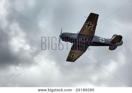KIEV, UKRAINE - NOV 7 : German military airplane (imitation) during historical reenactment of Kiev Liberation in 1943, WWII, November 7, 2010 in Kiev, Ukraine