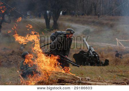German soldier with flame-thrower. WWII reenactment in Kiev,Ukraine