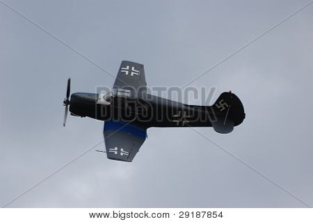 KIEV, UKRAINE - NOV 7 : German military airplane (imitation) during historical reenactment of Kiev Liberation in 1943, WWII, November 7, 2010 in Kiev, Ukraine