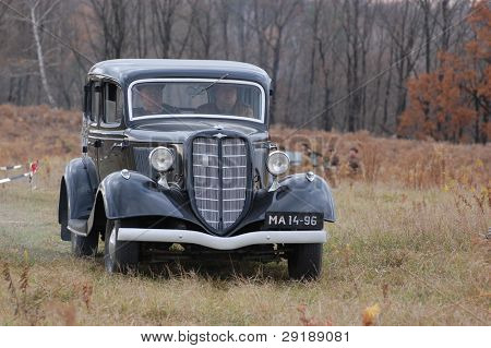 KIEV, UKRAINE - NOV 7: Old German car during historical reenactment of Kiev Liberation in 1943, November 7, 2010 in Kiev, Ukraine