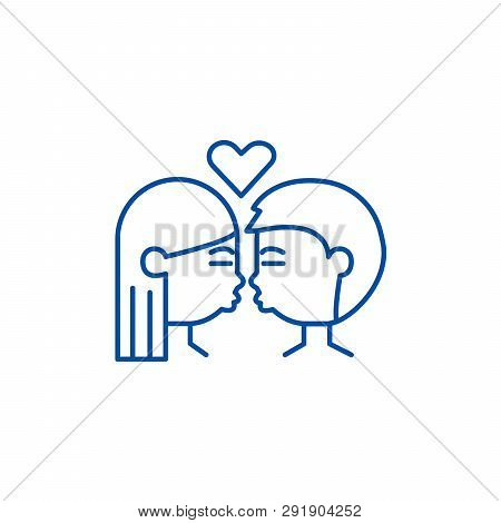 Kissing Couple Line Icon Concept
