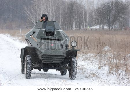 KIEV, UKRAINE - FEB 20: Soviet armored truck during historical reenactment of 1945 WWII, ,February 20, 2011 in Kiev, Ukraine