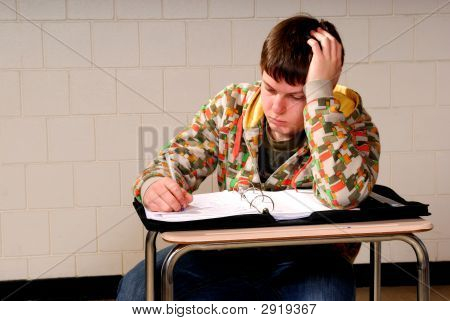 Teenager Taking Notes
