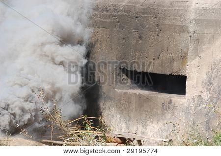 KIEV, UKRAINE -SEPT 18 : Pillbox, Part of Kiev defense line in WW2 time (Line of Stalin) during historical reenactment of WWII, September 18, 2011 in Kiev, Ukraine