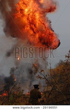 KIEV, UKRAINE -NOV 6: Big explosion during historical reenactment of WWII, November 6, 2011 in Kiev, Ukraine