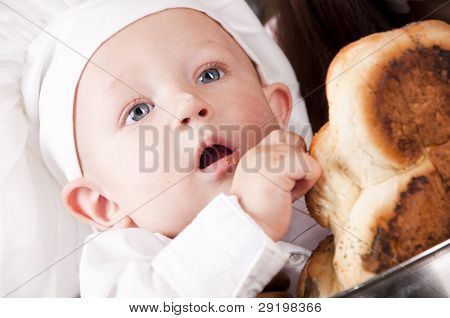 Portrait Of A Baby Wearing A Chef Hat Sitting Inside A Large Cooking Stock Pot