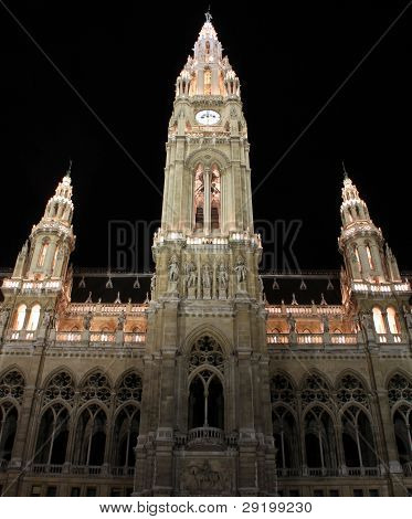 Main Facade Of Viennas Town Hall, Austria