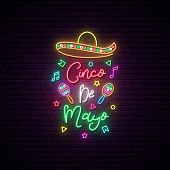 Cinco De Mayo Neon Signboard. Mexico Greeting Banner. Bright Sombrero Illustration. poster