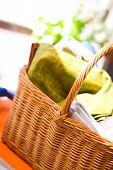 stock photo of underthings  - basket full of towels on a market - JPG