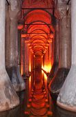 image of cistern  - The dark damp and gloomy basilica cistern situated under the turkish city of Istanbul. ** Note: Slight blurriness, best at smaller sizes - JPG