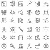 Science And Chemistry Vector Concept Outline Icons. Chemistry Lab Symbols In Thin Line Style poster