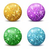 Color Disco Balls. Realistic Reflection Ball Mirrored Disco Party Silver Glitter Equipment Retro Hal poster
