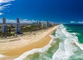 Surfers Paradise beach from an aerial drone perspective, Gold Coast, Queensland, Australia poster