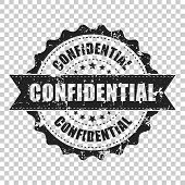Confidential Scratch Grunge Rubber Stamp. Vector Illustration On Isolated Transparent Background. Bu poster