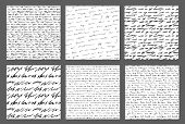 Handwriting Backgrounds Set Sursive Seamless Patterns Collection poster