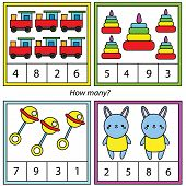 Counting Educational Children Game. Mathematics Activity For Kids And Toddlers. How Many Objects. St poster