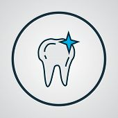 Clean Tooth Icon Colored Line Symbol. Premium Quality Isolated Cleaned Element In Trendy Style. poster