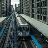 Adams Wabash Train Line Towards Chicago Loop In Chicago, Usa poster