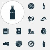 Beverages Icons Set With Darts, Spacing, Lunch And Other Barrel Of Beer Elements. Isolated  Illustra poster