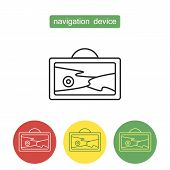 Navigation Device Outline Icons Set. Navigator Tablet With Pointing Mark On Screen. Editable Stroke  poster