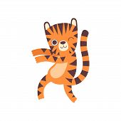 Cute Little Tiger Dancing, Adorable Wild Animal Cartoon Character Vector Illustration poster