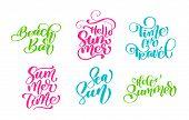 Handwritten Travel Lifestyle Motivational Phrases Set. Hand Drawn Summer Vector Calligraphy Letterin poster