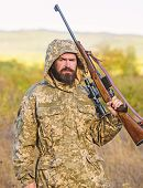 Hunting Big Game Typically Requires Tag Each Animal Harvested. Hunting Season. Guy Hunting Nature En poster