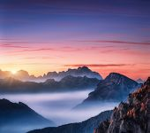 Mountains In Fog At Beautiful Sunset In Autumn In Dolomites, Italy. Landscape With Alpine Mountain V poster