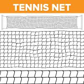 Tennis Net Pattern Vector. Volleyball Texture. Court Net Isolated. Horizontal Seamless. Rope Trap. C poster