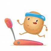 Cartoon Funky Potato Character Running Or Jogging On Treadmill Isolated On White Background. Cute Sp poster