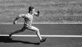 Man Athlete Run To Achieve Great Result. How Run Faster. Speed Training Guide. List Ways To Improve  poster