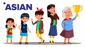Asiatic Generation Female People Person . Asian Mother, Daughter, Granddaughter, Baby, Teen. Isolate poster
