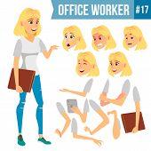 Office Worker . Woman. Successful Officer, Clerk, Servant. Business Woman Worker. Face Emotions, Var poster